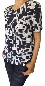 Equipment Silk Top NWT navy with white