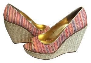 Nine West Open Toe Multi/Gold Wedges