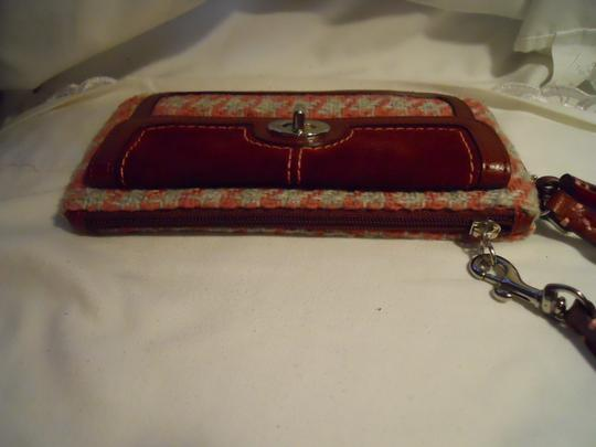 Coach Leather Wristlet in burgundy, pink & grey
