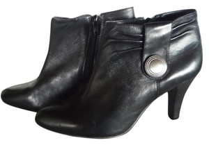 Michelle D Leather Silver Detail Black Boots