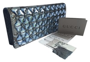 Gucci Exotic Python Snakeskin Blue Clutch