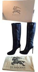 Burberry Leather Stiletto Black Boots