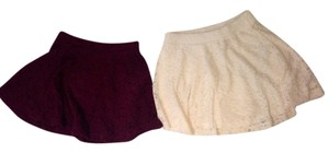 H&M Mini Skirt Burgundy and White