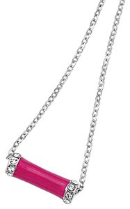 Lia Sophia NEW Lia Sophia Crystal-Trimmed Pink Enamel, Silver Adjustable Chain Necklace.
