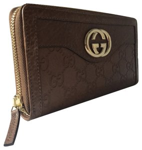 Gucci Gucci Guccissima Brown Sukey Leather Zip Around Wallet 308012 A261G 2527
