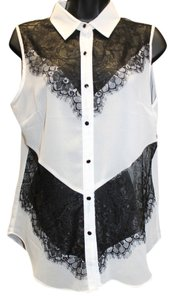 OH MY JULIAN INC. Black Lace Trim White Top