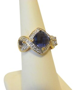 Technibond Technibond Simulated Tanzanite Ring with Diamond Accents Size 7
