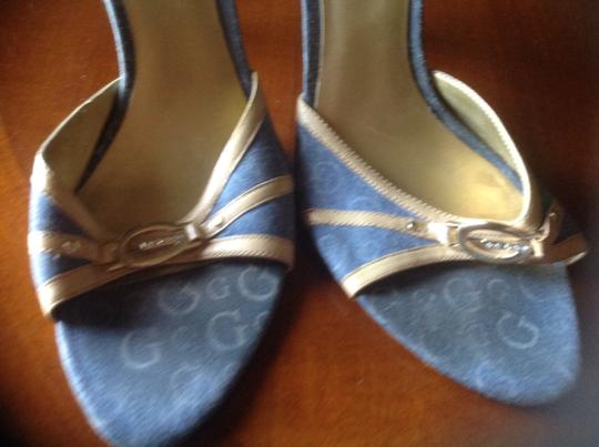 Guess Like New Great Style Denim Lower Heel Blue with light blue Guess signature and beige leather trim Sandals