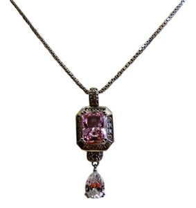 Victoria Wieck Victoria Wieck of Beverly Hills Pink and Clear Absolute Diamond Drop Necklace with 18 Inch Chain