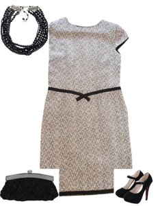 Talbots Black And White Silk Office Formal Mysti Gal Dress