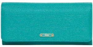 Fendi Fendi Vitello Elite Turquoise Leather Continental Wallet
