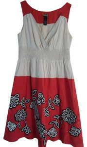 Anthropologie short dress Poppy and cream Lithe Cotton Floral on Tradesy