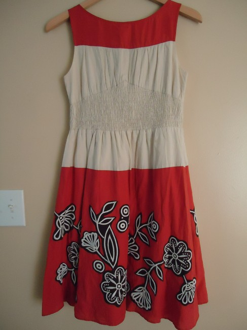 Anthropologie short dress Poppy and cream Lithe Cotton Floral Embroidered on Tradesy