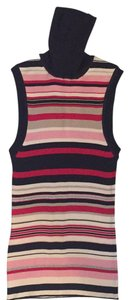 Prada Navy blue, pink, red, cream and taupe Halter Top