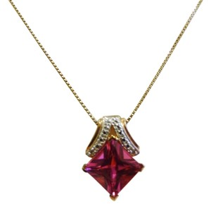 Technibond Technibond Lab Created Pink Sapphire Diamond Accented Pendant with 18 Inch Chain