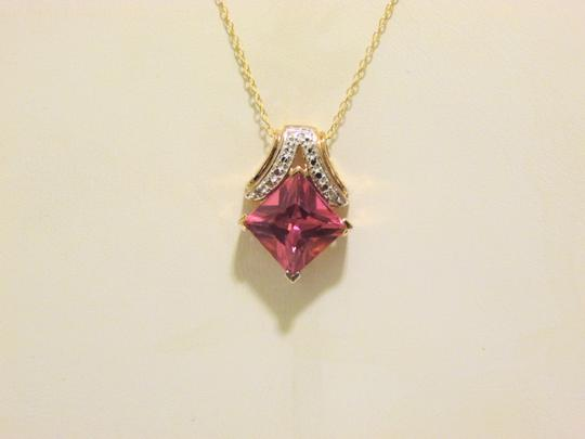Technibond Technibond Lab Created Pink Sapphire Pendant with 18 Inch Chain