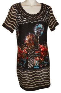 P Luca short dress brown multi color print Knit on Tradesy