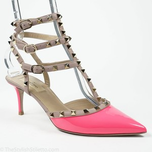 Valentino Rockstud 40/9.5 Fuchsia Patent Leather Ankle Strap Pump Wedding Shoes
