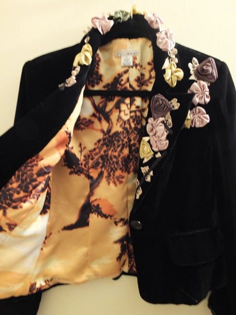 WD.NY black with champagne, gold and bronze flowers Jacket