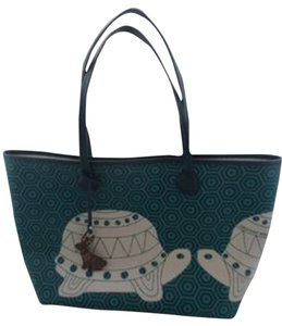 Jonathan Adler Tote in Navy Blue & Kelly Green
