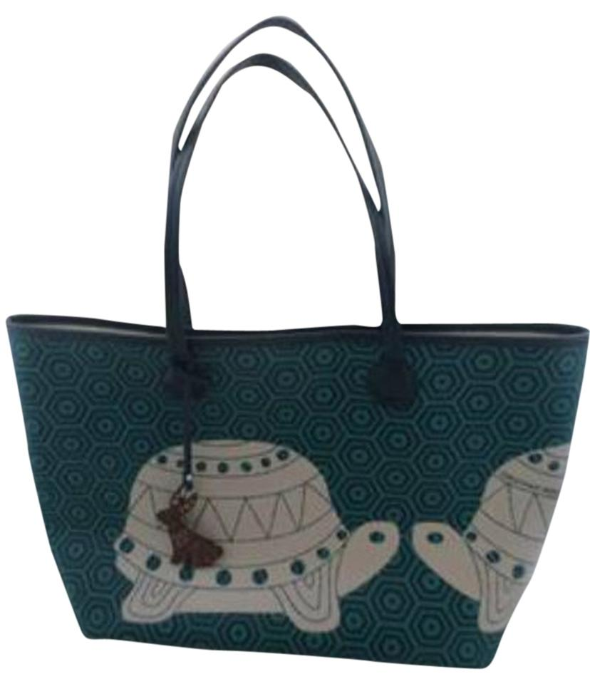 56e39ffa60e3 Jonathan Adler Animal Duchess Turtles Navy Blue   Kelly Green Leather and Coated  Canvas Tote