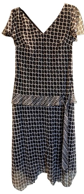 Item - Sheer Black & White High-low Night Out Dress Size 6 (S)