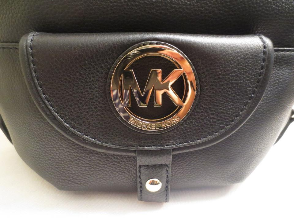 357a5b0a607f50 Michael Kors Fulton Hobo Purse Pebbled Leather Large Mk Gold Tone Circle  Logo Gold Tone Hardward. 123456