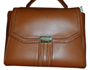 BCBGMAXAZRIA Leather Brown Satchel in Brown/Caramel
