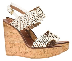 Other Tory Burch Daisy Perforated Ivory Leather Wedge Wedges Size 6.5 White Sandals
