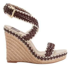 Tory Burch Lilah Rope Espadrille Sandal Sandals Heel Heels Braided Luggage Leather Size 10 Brown Wedges