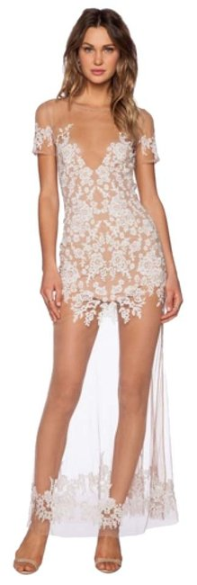 Item - White and Nude Mesh Luau Long Casual Maxi Dress Size 0 (XS)