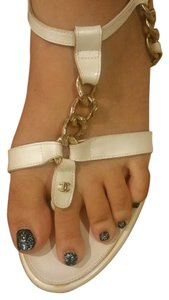 Chanel Cc Chains Chain Cambon Off White Sandals