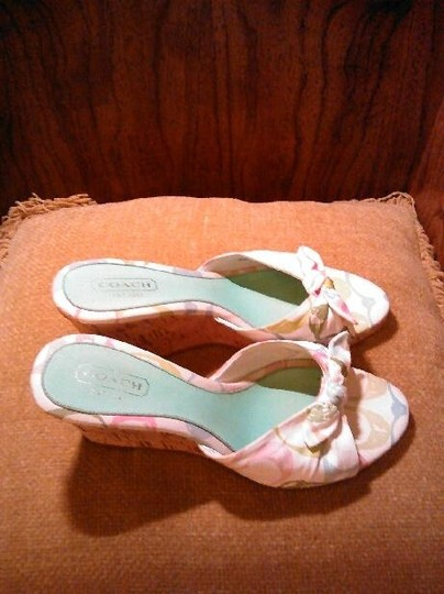 Coach White and Multi-color Wedges