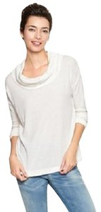 Gap Waffle Knit Cowl Casual Comfortable Funnel Neck T Shirt Ivory