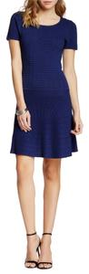 Romeo & Juliet Couture short dress Blue Ribbed Fit Flare on Tradesy