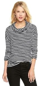Gap Cowlneck Turtleneck Striped Waffle Knit Long Sleeve T Shirt Navy Blue