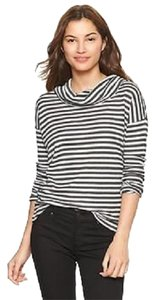 Gap Cowlneck Striped Waffle Knit T Shirt Charcoal Grey