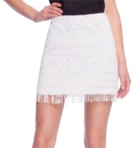Guess By Marciano Macrame Crochet Fringe Hem Lace Boho Mini Skirt White