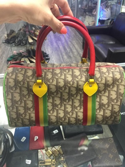 Dior Christian Vintage Tote in brown, green, yellow, red, multi