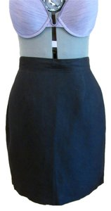 United Colors of Benetton Linen Pencil Mini Lined Career Skirt Black