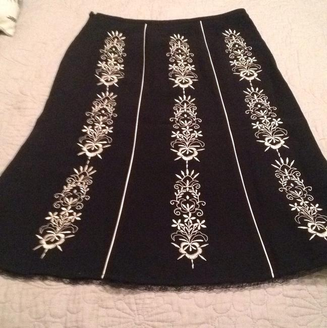 Ann Taylor LOFT Embroidered Floral New With Tags A-line Skirt Black and white