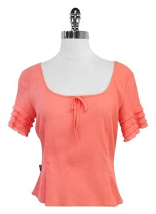 Moschino Coral Cotton Ruffly Short Sleeve Top