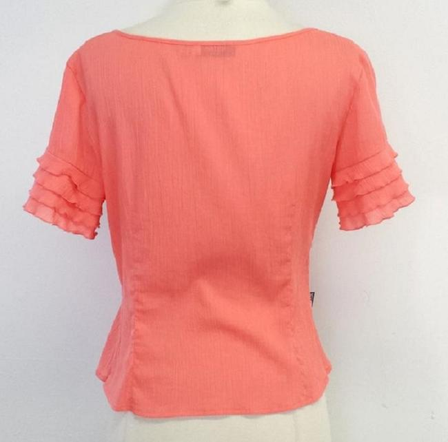 Moschino Cotton Ruffly Short Sleeve Top Coral