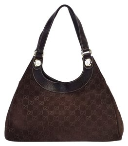 Gucci Charmy Brown Suede Monogram Shoulder Bag