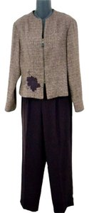 Dress Barn Two-Piece Wine Colored Tweed Pantsuit