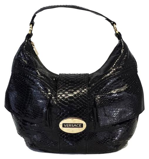 Versace Black Patent Snakeskin Shoulder Bag