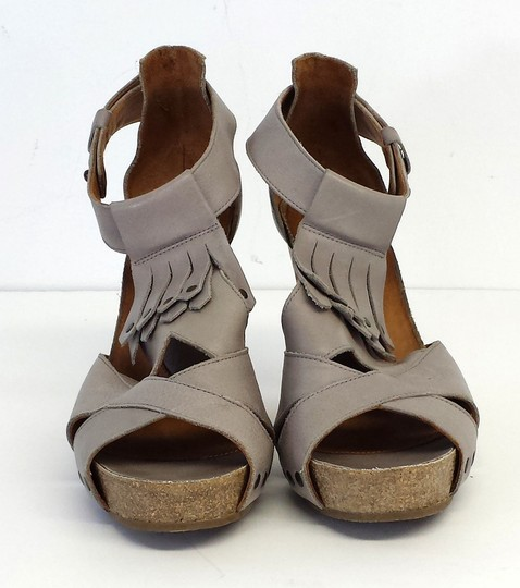 John Fleuvog Pale Taupe Leather Sandals Platforms