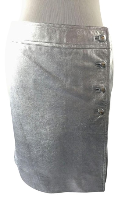 Item - Silver Leather Wrap Skirt Size 10 (M, 31)