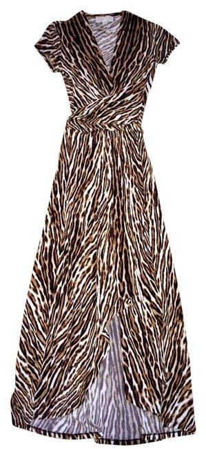 Item - Ivory & Brown Animal Print Maxi Long Cocktail Dress Size 2 (XS)