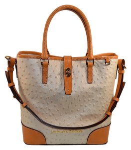 Dooney & Bourke Ostrich Embossed Leather Satchel in Pearl